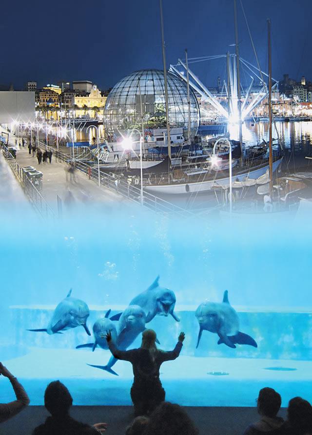 acquario di genova col nuovo padiglione cetacei, biosfera e
